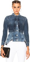 Alexander McQueen Peplum Denim Jacket in Blue.