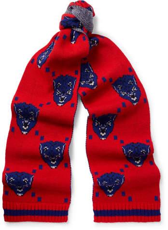 Gucci Jacquard-Knit Wool Scarf