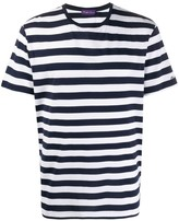 Ralph Lauren Purple Label striped logo embroidered T-shirt