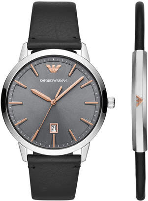 Emporio Armani Men Black Leather Strap Watch 43mm Gift Set