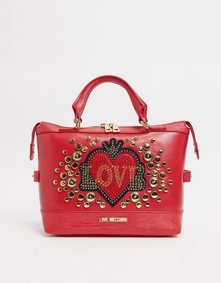Love Moschino full of love studded top handle bag in red
