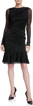 Talbot Runhof Shimmer Long-Sleeve Cocktail Dress