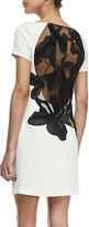 Halston Crepe Cap-Sleeve Floral Inset Sheath Dress