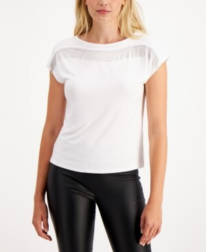 Bar III Embellished Fringe Top, Created for Macy's