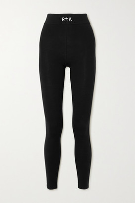 RtA Sibille Embroidered Stretch-cotton Jersey Leggings - Black