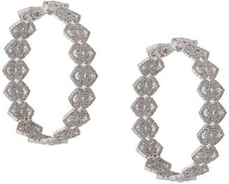 Colette 18kt White Gold Filigree Diamond Hoops