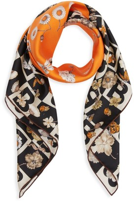Burberry B Motif and Floral Print Silk Square Scarf