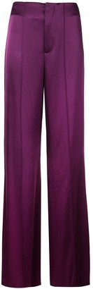 Alice + Olivia Dylan wide-leg satin trousers