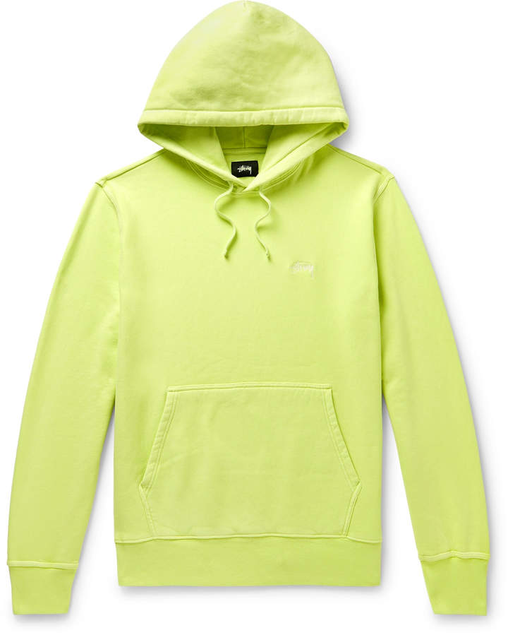 Stussy Logo-Embroidered Fleece-Back Cotton-Jersey Hoodie - Men - Yellow