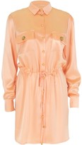 Relax Baby Be Cool Long Sleeve Silk Tie Up Shirt Dress Pink