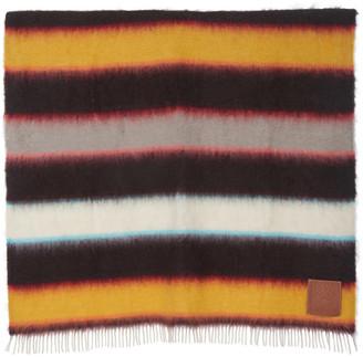 Loewe Fringed Striped Mohair Blanket