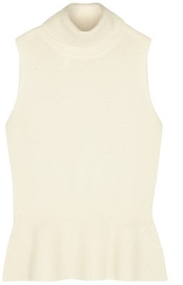 Veronica Beard Noor Ivory Peplum Cashmere Top