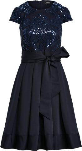 Thumbnail for your product : Ralph Lauren Lace-Faille Cap-Sleeve Cocktail Dress