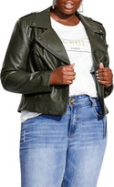 City Chic Whipstitch Faux Leather Biker Jacket