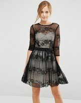 Little Mistress Lace Skater Dress With 3/4 Sleeves