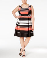 Trixxi Trendy Plus Size Belted Striped Fit & Flare Dress