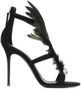 Giuseppe Zanotti Design feather embellished sandals