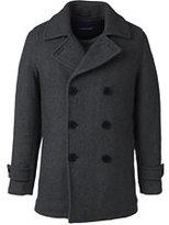 Classic Men's Tall Herringbone Wool Peacoat-Dark Charcoal Herringbone