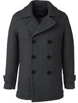 Lands' End Men's Tall Herringbone Wool Peacoat-Dark Charcoal Herringbone
