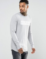 Asos Longline Muscle Long Sleeve T-Shirt With Alpha Print And Curve Hem