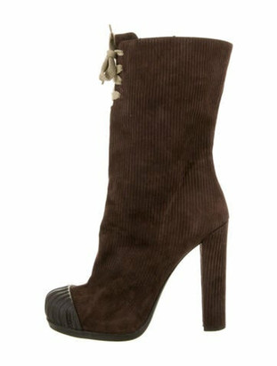 Fendi Suede Lace-Up Boots Brown