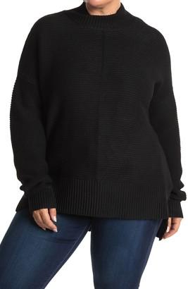 Sweet Romeo Cool Girl Mock Neck Ribbed Tunic Sweater (Plus Size)
