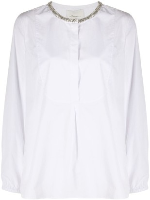 3.1 Phillip Lim Rhinestone Embellished Collar Shirt