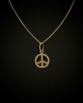 Italian Gold 14K Peace Sign Adjustable Necklace