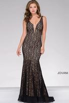 Jovani Lace Fitted V Neck Prom Dress 42784