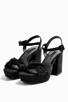 Topshop WIDE FIT SPRING Black Platform Shoes