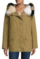 Army by Yves Salomon Fox Fur-Trim Hooded Down Parka