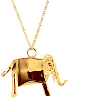 Origami Jewellery Elephant Necklace Gold