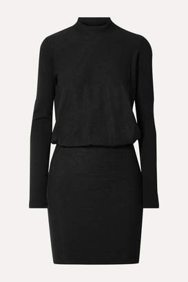 James Perse Slub Stretch-cotton Jersey Mini Dress - Black