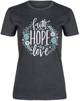 Heather Charcoal 'Faith Hope Love' Floral Fitted Tee