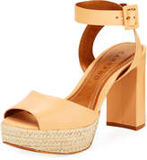 Carrano Jute-Trim Leather Platform Sandal, Beige
