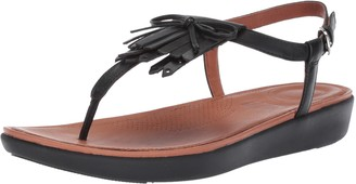 FitFlop Women's TIA Fringe Toe Thong Sandals-Leather Flat