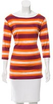 Miu Miu Striped Three-Quarter Sleeve Top