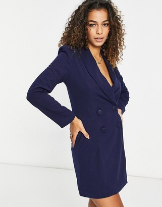 Club L London double-breasted mini blazer dress in navy