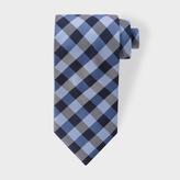 Paul Smith Men's Navy And Sky Blue Gingham Silk Tie