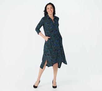 Logo by Lori Goldstein Printed Stretch Woven Button Dress