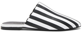 Marques Almeida Marques ' Almeida Stripe Leather Flat Pointy Mules in Black,White,Stripes.
