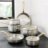 Crate & Barrel Fleischer and Wolf London Tri-Ply Stainless Steel/Gold 10-Piece Set