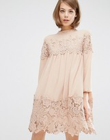 Fashion Union Long Sleeve Smock Dress With Lace Inserts