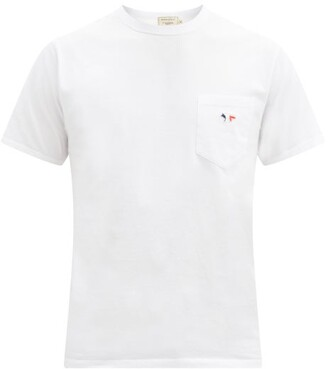 MAISON KITSUNÉ Tricolour Fox-patch Cotton-jersey T-shirt - White
