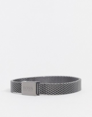 BOSS Hugo metal mesh bracelet in grey