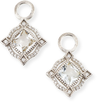 Jude Frances Lisse 18K Delicate Cushion Topaz Earring Charms with Diamonds