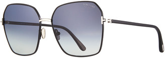 Tom Ford Claudia Geometric Metal/Acetate Sunglasses