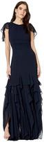 Halston Flounce Georgette Gown (Dark Navy) Women's Dress