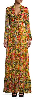 Saloni Silk Georgette Floral Long-Sleeve Maxi Dress