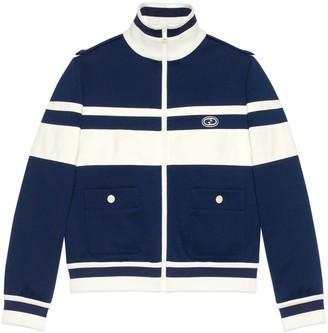 Gucci Striped jersey piquet zip-up jacket